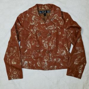 APOSTROPHE brown blazer with gold floral
